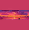 sunset in ocean pink clouds in sky with shiny sun vector image vector image