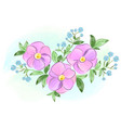 watercolor purple and blue flowers with leaves vector image vector image