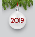 white 2019 new year background with christmas ball vector image