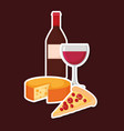 wine bottle with cheese and pizza vector image vector image