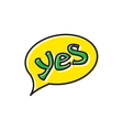 Word yes in bubble speech icon flat style vector image vector image