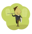 cartoon male waiter carrying tray vector image