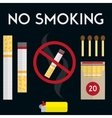No smoking sign with cigarettes lighter and vector image