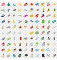 100 auto icons set isometric 3d style vector image vector image