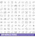 100 vehicle icons set outline style vector image vector image