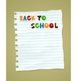 Back to school on wrinkled lined paper eps 10 vector image