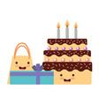 birthday kawaii cake gift and bag party vector image