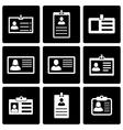 black id card icon set vector image