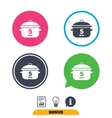 Boil 5 minutes Cooking pan sign icon Stew food