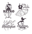 boutique or female clothes shop isolated sketch vector image