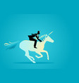 businessman riding a unicorn vector image vector image