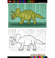 cartoon triceratops dinosaur for coloring book vector image
