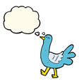 cartoon walking bird with thought bubble vector image vector image