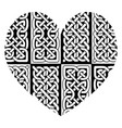 celtic style heart with eternity knot pattern vector image vector image