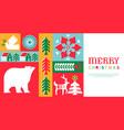 christmas web template retro folk winter mosaic vector image vector image