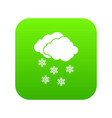 cloud and snowflakes icon digital green vector image vector image