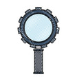 colored pencil silhouette of magnifying glass with vector image vector image