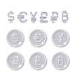 currency sign and coins vector image vector image