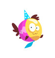 cute fish wearing party hat and necktie little vector image vector image