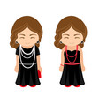 cute french girls in a little black dresses with vector image