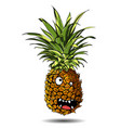 cute fresh pineapple cartoon character emotion a vector image