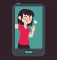 Cute Girl Taking a Selfie vector image