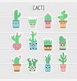 cute stickers set of cacti and succulents cacti vector image vector image