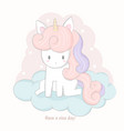 cute unicorn cartoon sitting on the cloud vector image vector image