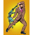 Cyclops businessman against a robot vector image vector image