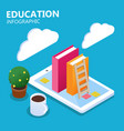 education infographic online concept books smartph vector image