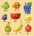 funny fruit characters vector image vector image