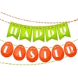happy easter greeting card with garland flags vector image