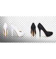 high-heeled shoes in white and black vector image vector image