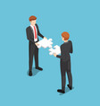 isometric business people assembling vector image vector image