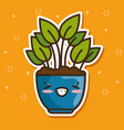 kawaii pot natural plant cartoon vector image vector image
