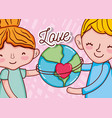 kids and love vector image