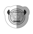 monochrome sticker with muscle man lifting a disc vector image vector image