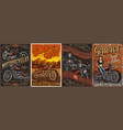 motorcycle vintage colorful posters set vector image vector image