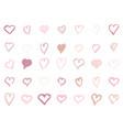pastel pink hearts set hand-drawn shape vector image vector image