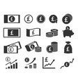 pound sterling coins and banknotes icons british vector image vector image