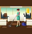 professional maid vacuuming carpet vector image