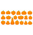 pumpkin simple flat color icons set vector image