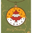 Retro greeting card with glass ball and Christmas vector image vector image