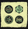 retro styled badges set with grunge background vector image vector image
