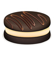Sandwich cookie with chocolate topping vector image vector image