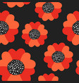 seamless summer pattern with red poppy flowers vector image