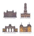 set belgium or belgian architecture landmarks vector image