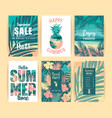 set of summer tropical designs templates vector image vector image