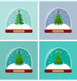 set snow globes with christmas tree vector image