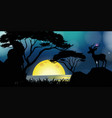 Silhouette scene with deer by the lake vector image